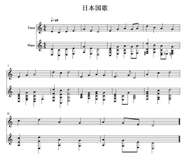 国歌尤克里里四线乐谱
